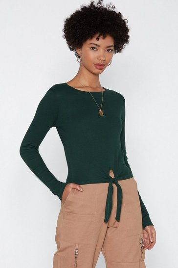 Womens Green So Up Tie Fitted Top