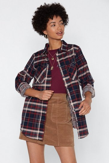 Womens Navy It's a Plaid Time Relaxed Shirt
