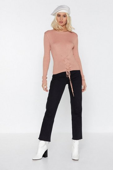 Womens Dusky pink Right Lace-Up Your Alley Jumper