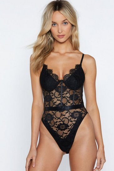 Womens Black Lace Me Up Bodysuit