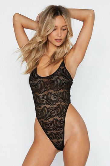 Womens Black My Love is Your Love Lace Bodysuit