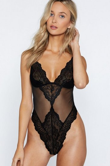 Black On the Scalloped Edge High-Leg Bodysuit