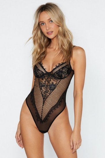 Black Such a Mesh Lace Bodysuit