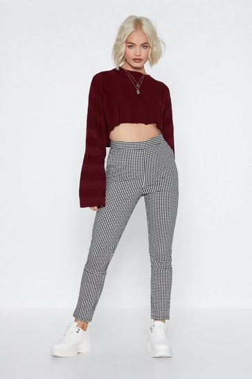 Womens Black Make It Fair Gingham Trousers