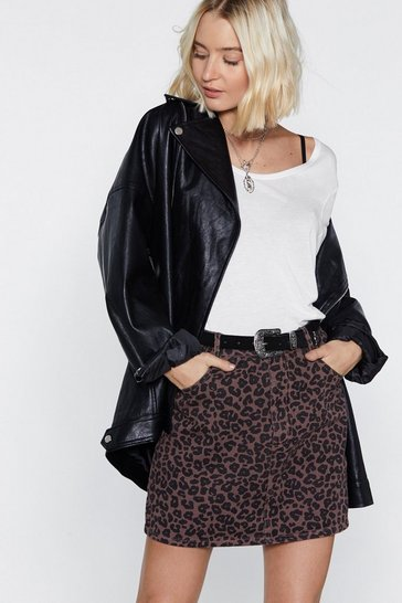 Womens Camel Only Time Will Tail Leopard Skirt