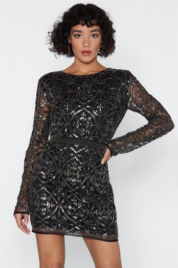 Womens Black Oh Damn Sequin Dress