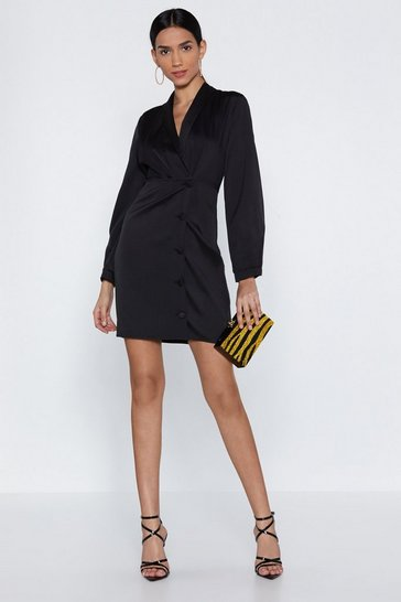 Womens Black Sleeves for Days Blazer Dress