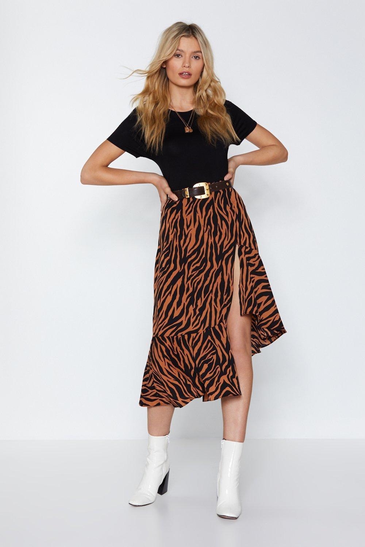 Nasty Gal Zebra Midi Skirt