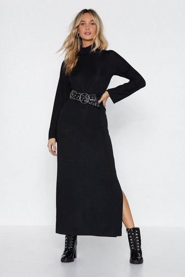 Black You Beat Me to Knit Maxi Dress
