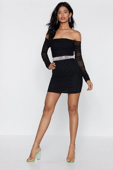 Womens Black Mesh the Waters Off-the-Shoulder Dress