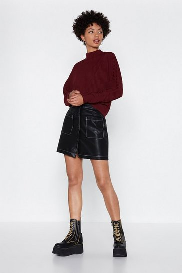 Black Ain't That Sew Stitch Faux Leather Skirt