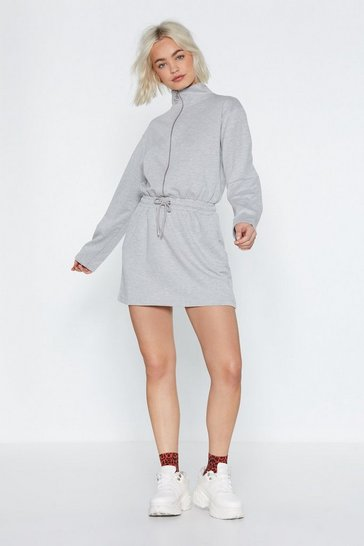 Womens Grey Zip 'Em into Shape Sweatshirt Dress