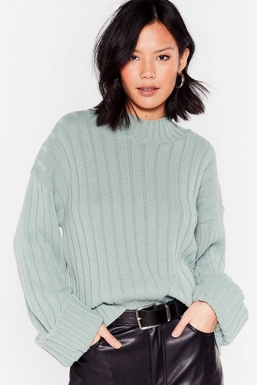 Green Mock Neckline Ribbed Sweater with Wide Sleeves