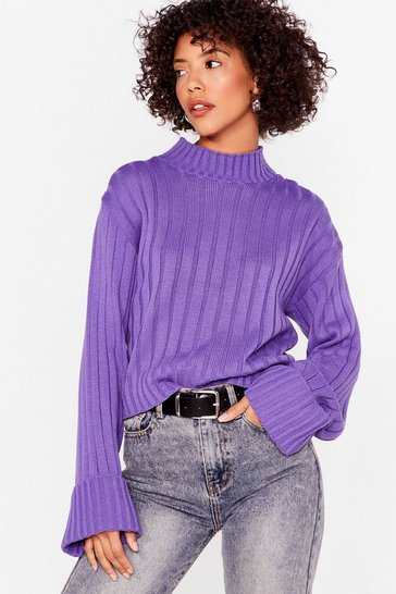 Purple Mock Neckline Ribbed Sweater with Wide Sleeves