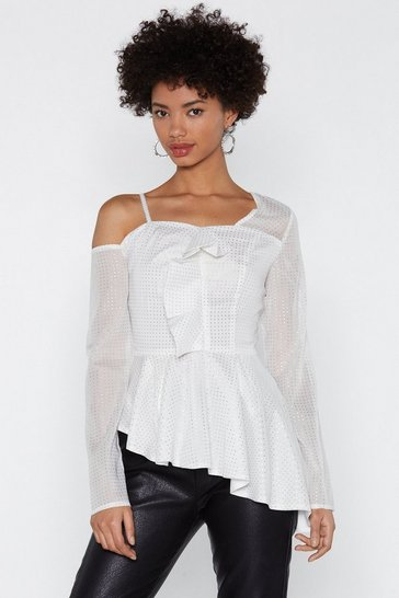 Womens White Reach For the Stars Ruffle Top