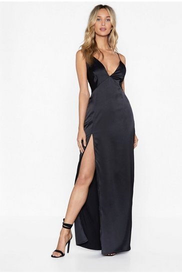 Black Plunging V-Neckline Satin Maxi Dress