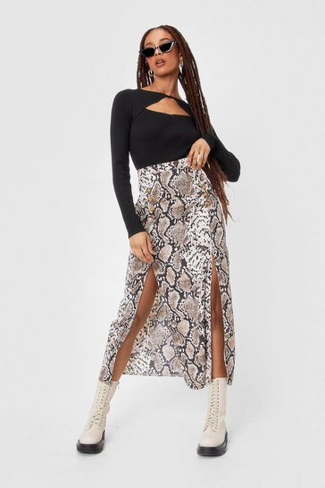 Brown Snake Print Duo Split Maxi Skirt