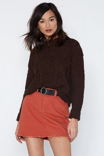 Womens Chocolate Give Knit Time Cable Jumper