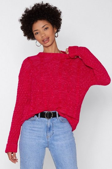 Womens Fuchsia Give Knit Time Cable Jumper