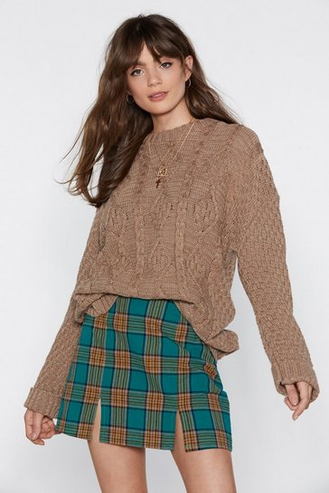 Womens Mocha Give Knit Time Cable Jumper