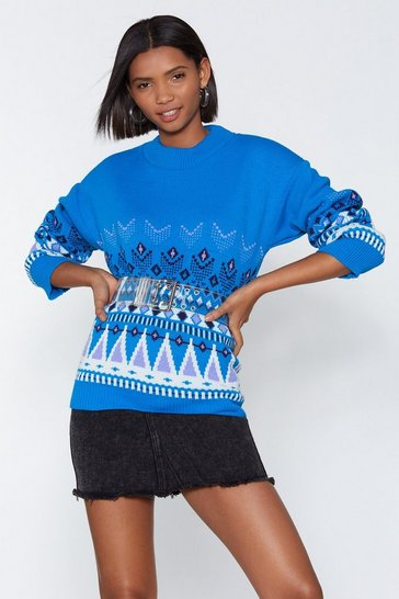 Womens Blue Let Knit Snow Fairisle Sweater
