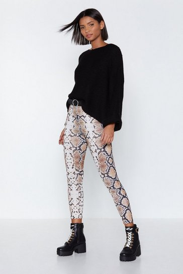 Brown Out of Hiss World Snake Leggings