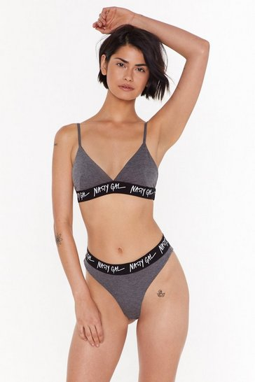 Womens Charcoal Nasty Gal Word on the Street Bralette and Panty Set