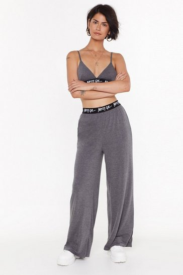 Womens Charcoal Nasty Gal Word on the Street Wide-Leg Joggers