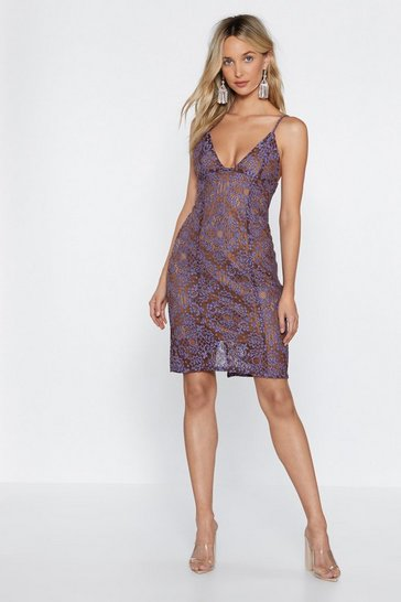 Womens Purple Visions of Lace Plunging Dress