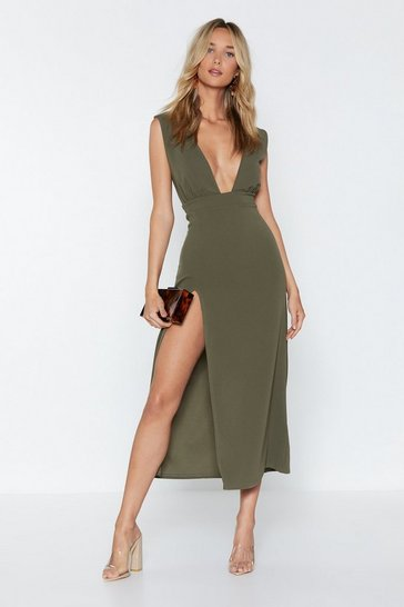 Womens Khaki Deep On Dancing Midi Dress