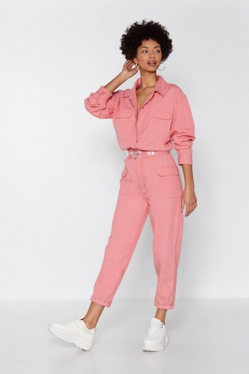 Womens Pink Come to a Boil Denim Boilersuit