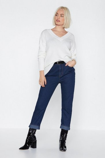 Womens Blue Leg It Straight-Leg Jeans