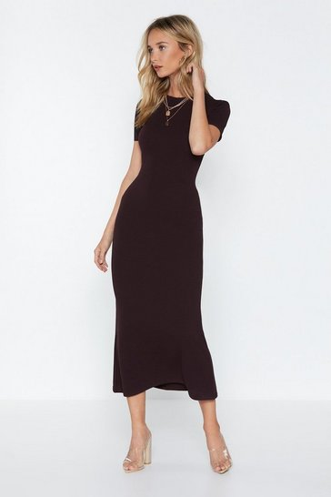 Womens Chocolate Come a Long Way Midi Dress