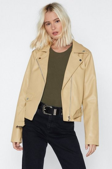 Womens Beige Faux Leather Mind Moto Jacket