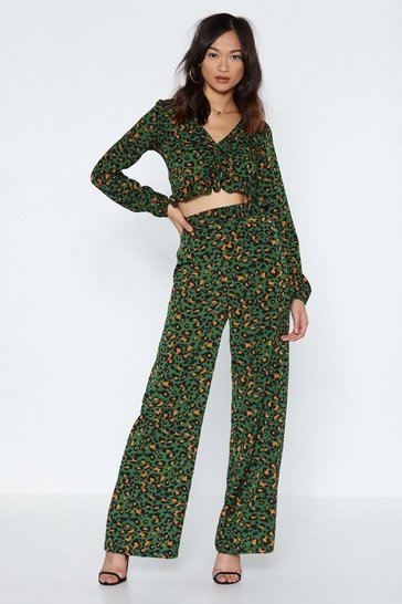 Womens Green The Time is Meow Leopard Trousers