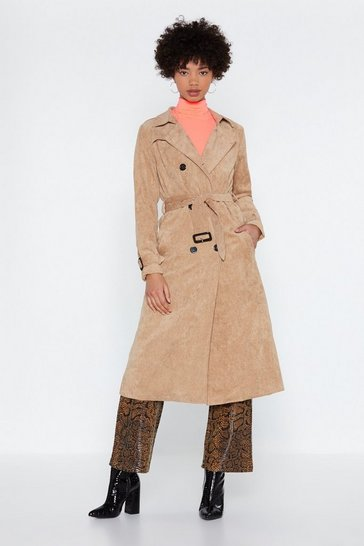 Womens Beige Rain Check Corduroy Trench Coat