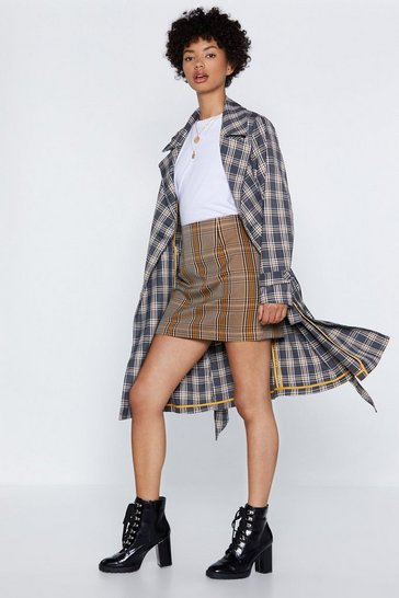 Womens Grey Check Off Trench Coat