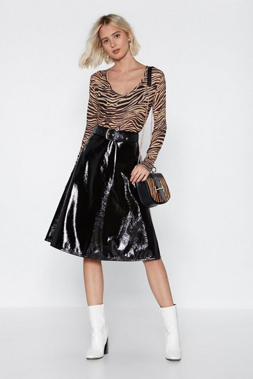 Womens Black Vinyl-ly Found You Midi Skirt