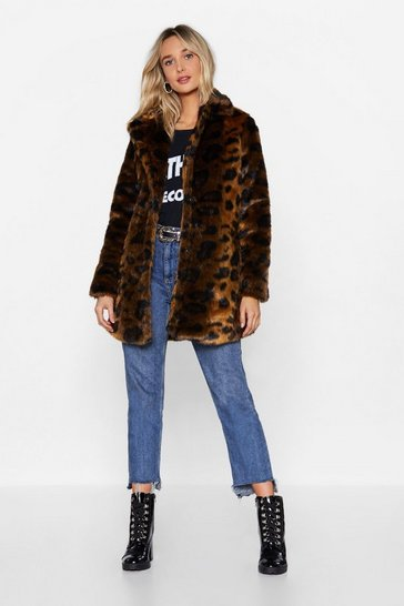 Womens Brown Faux Fur-get the Past Leopard Coat