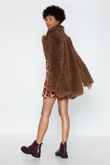 Womens Brown Can You Feel It Faux Fur Coat