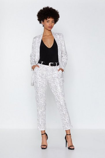 Womens White Snake Pu Trousers
