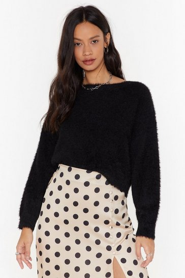 Womens Black Fluff and Ready Sweater