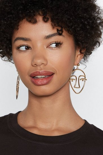 Womens Gold A Face in the Crowd Drop Earrings