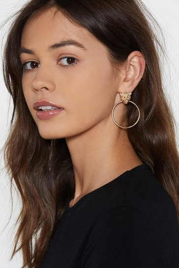 Gold Eye of the Tiger Hoop Earrings