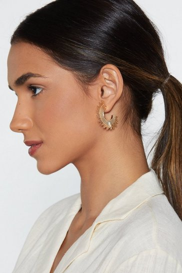 Womens Gold Pocket Full of Sunshine Half Hoop Earrings