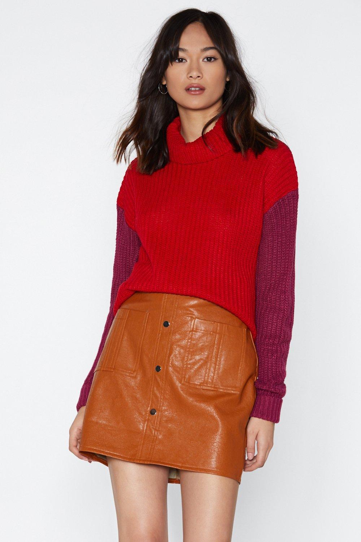 e37ff56ac Womens Berry Contrast Sleeve Roll Neck Jumper