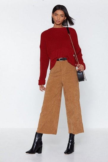 Womens Tan Wide of the Mark Corduroy Culottes