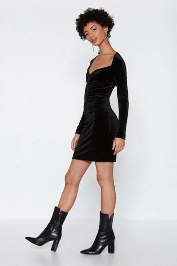 Womens Black I'm the One Velvet Dress