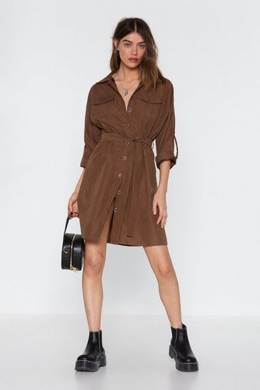 Womens Brown Tie As You May Utility Dress