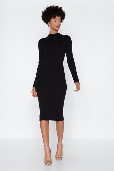 Womens Black Getting Midi With it High Neck Dress